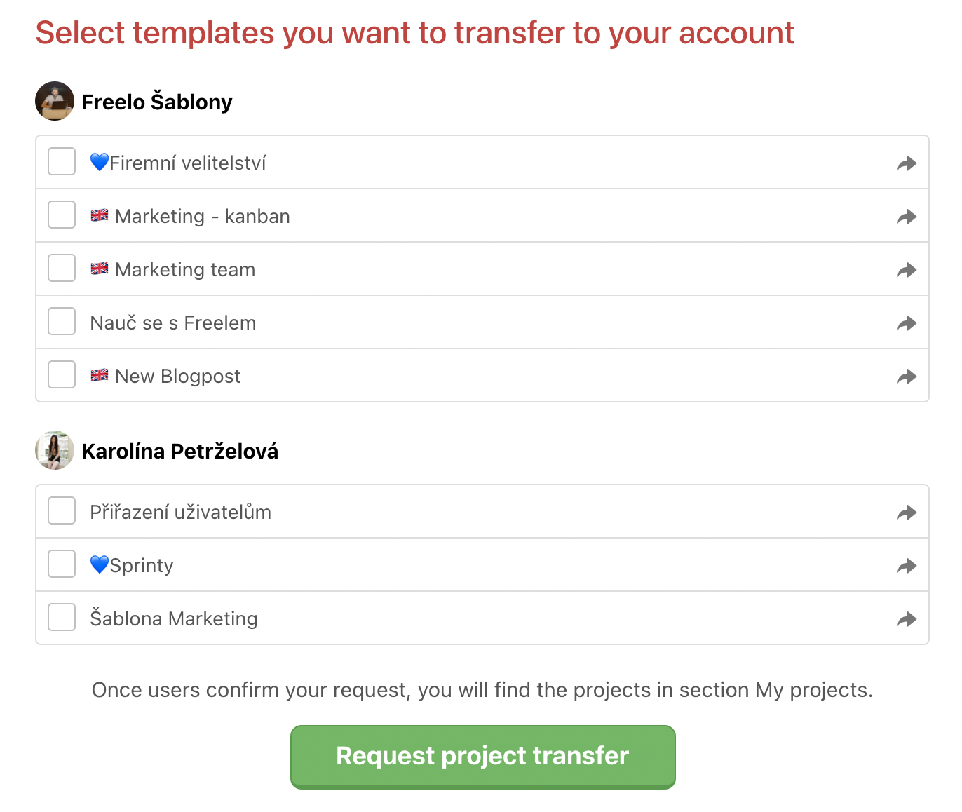How to request the template from another user.