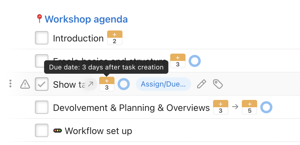 Example of To-Do list with tasks with preset due dates.