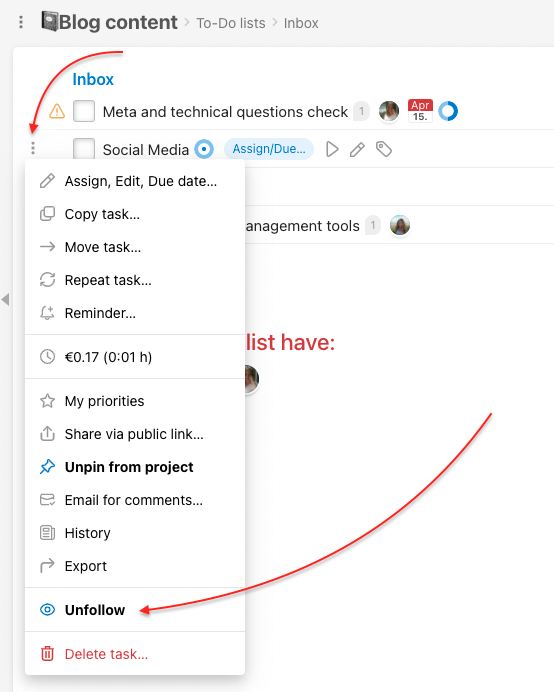 How to unfollow a task on To-Do list detail.