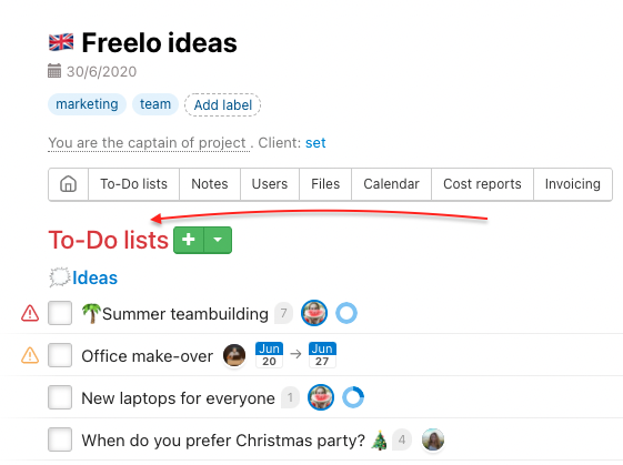 Go to To-Do lists page in particular project.