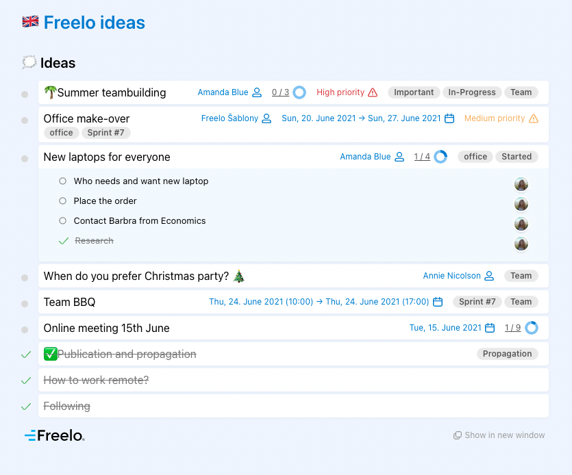 Example of generated public page for a To-Do list.