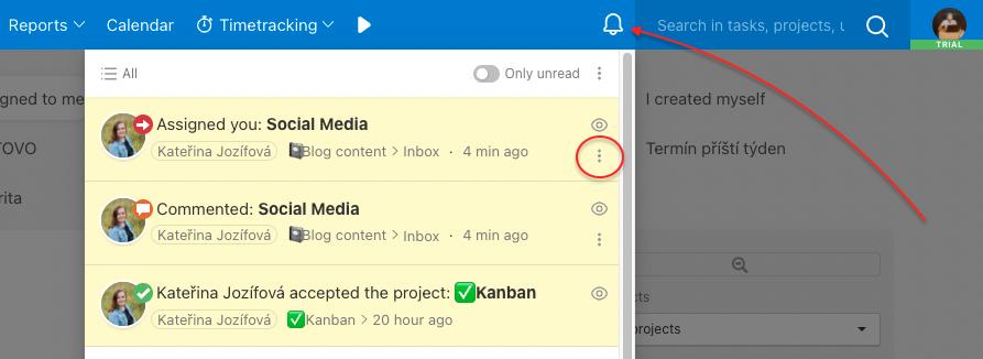 Unfollow a task via notifications.