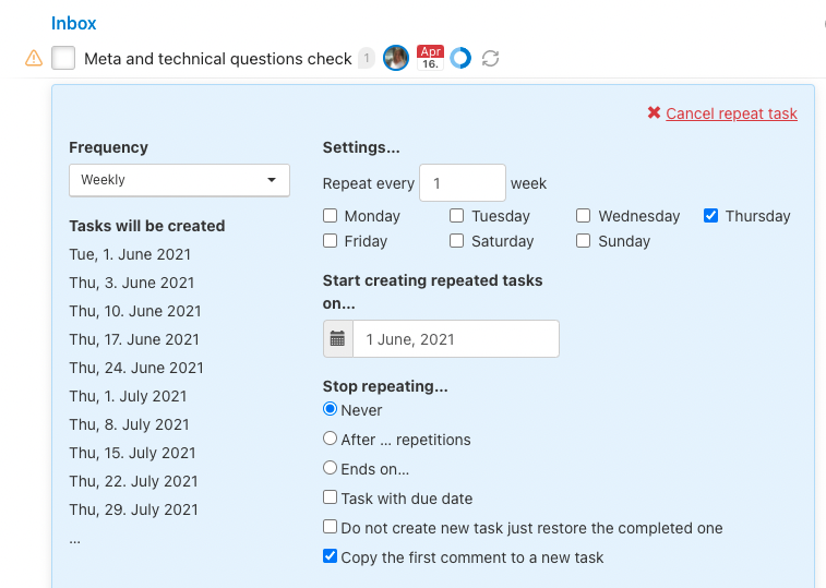 How to set up repeated task on weekly basis.