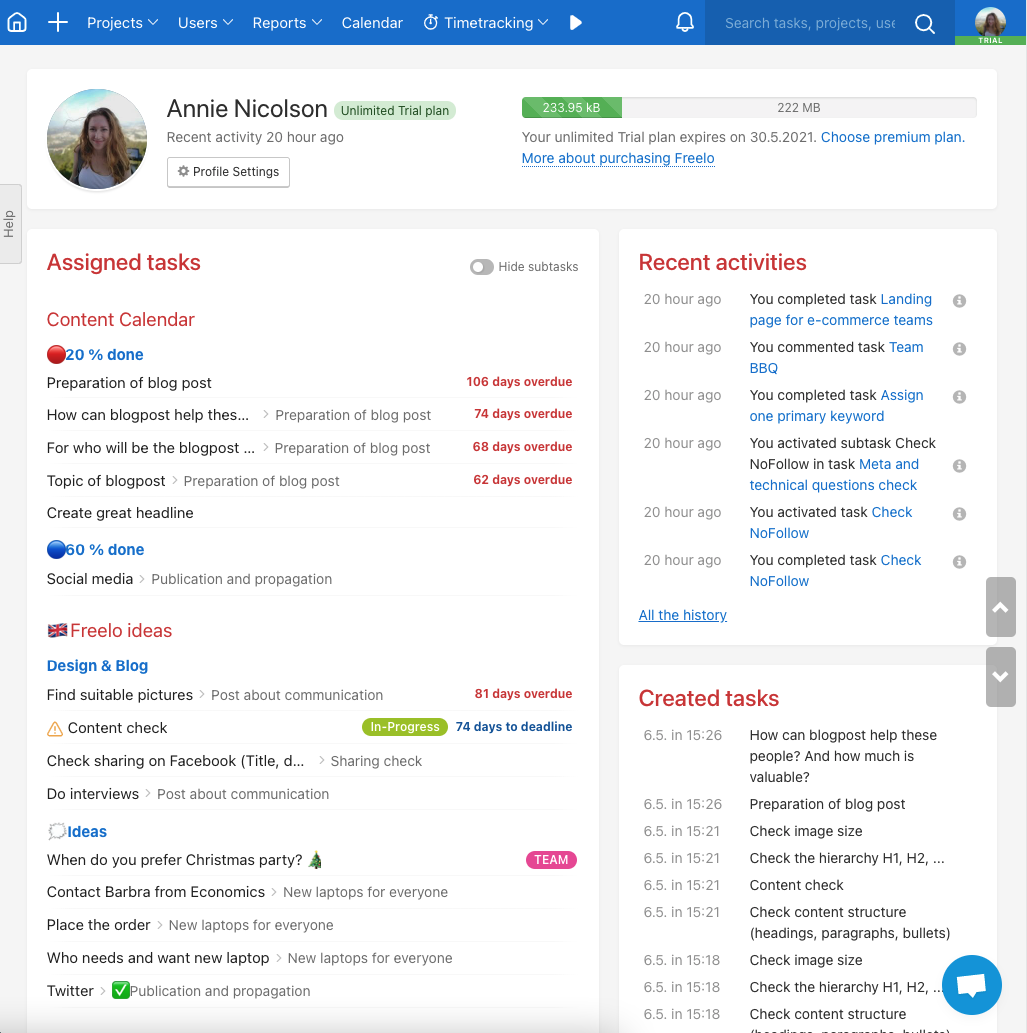 Your profile - or the dashboard of all user activities.