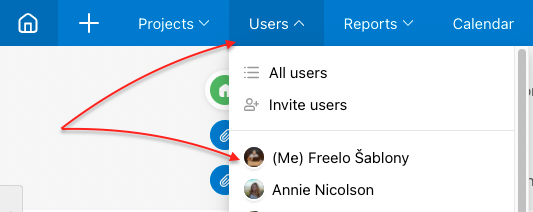 Your profile via section Users.