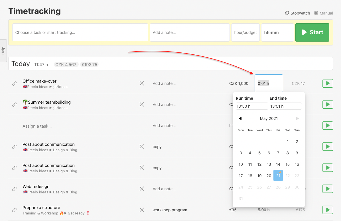 How to edit reported time in section Timetracking.