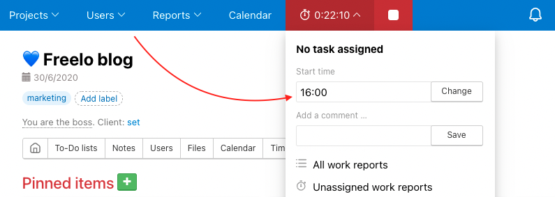How to edit start of the timetracking.