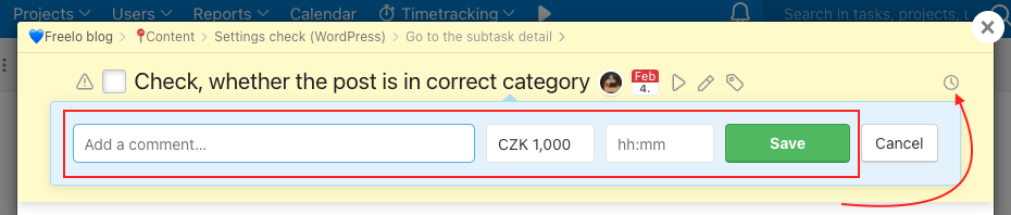 How to report costs manually in subtasks.