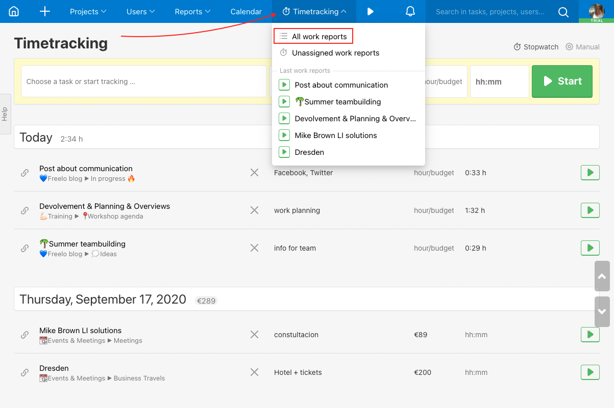 Overview of all work reports in Freelo.