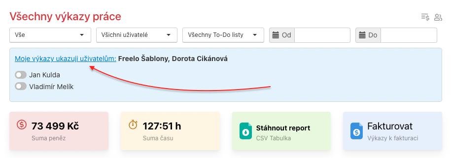 Jak sdílet výkazy s přizvanými uživateli.