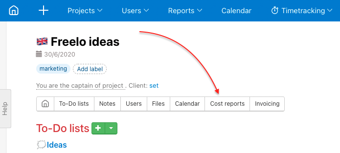 Go to particular project and find section Cost reports.