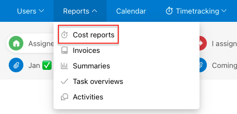 Go to section Reports > Cost reports.