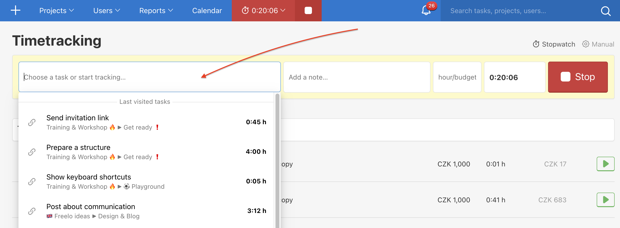 How to add task to unassigned time tracking.