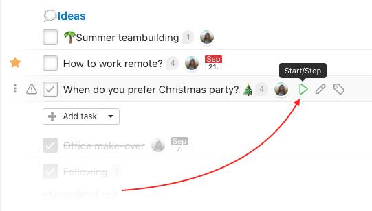 Timetracking over particular task via play button icon.