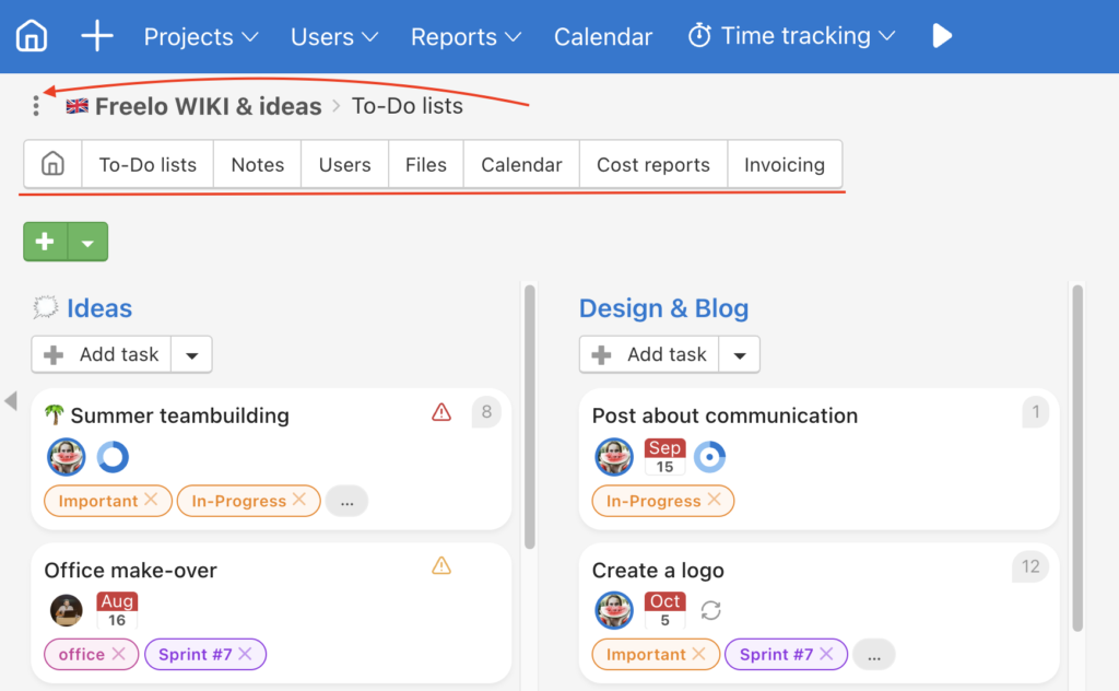 Click three-do menu and select other project section or the project detail page.