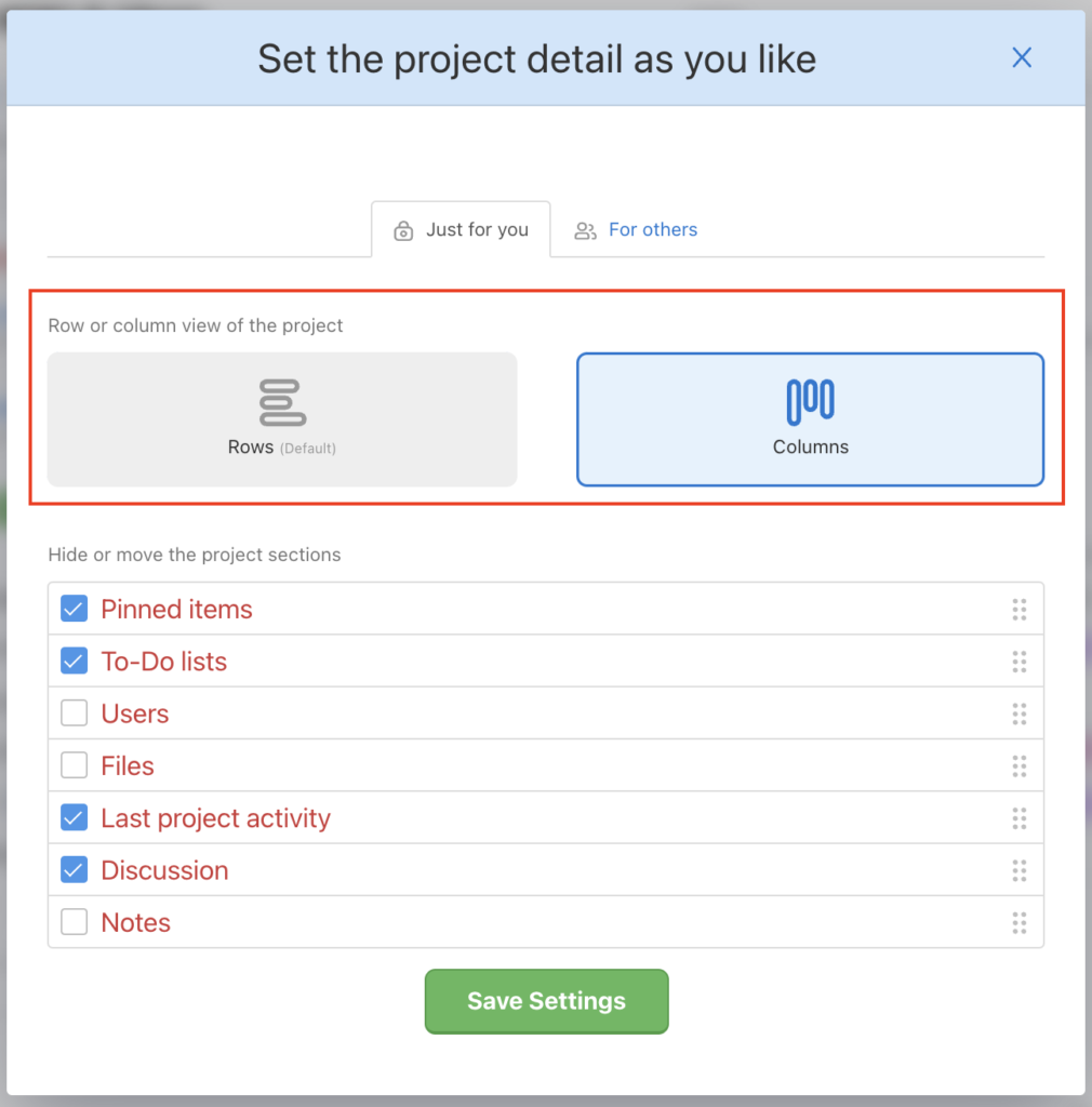 Change the project view for yourself or your team.