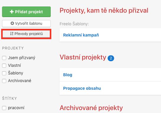 Jak změnit vlastníka projektu.