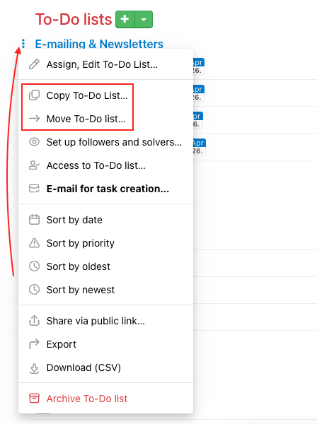 How to copy and move a To-Do list.