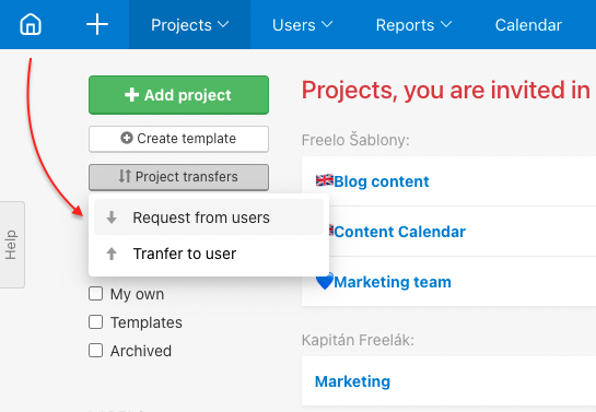 How to transfer project from another user under your account.