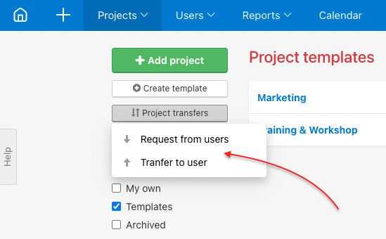 Request project transfer or transfer project directly.