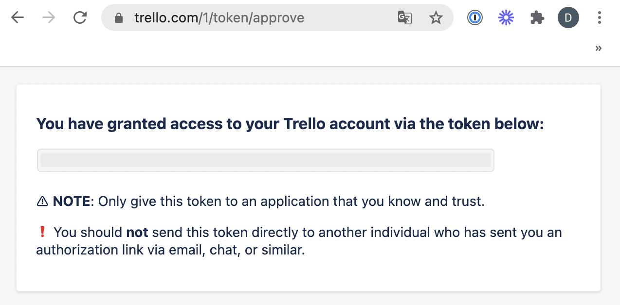Generated Trello API Token.