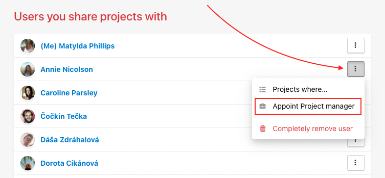 Appoint user as a Project manager.