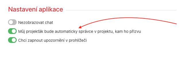 Pole nech zaškrtnuté, pokud chceš, aby se tvůj Projekťák byl zároveň Správcem na projektech, kam ho přizveš.