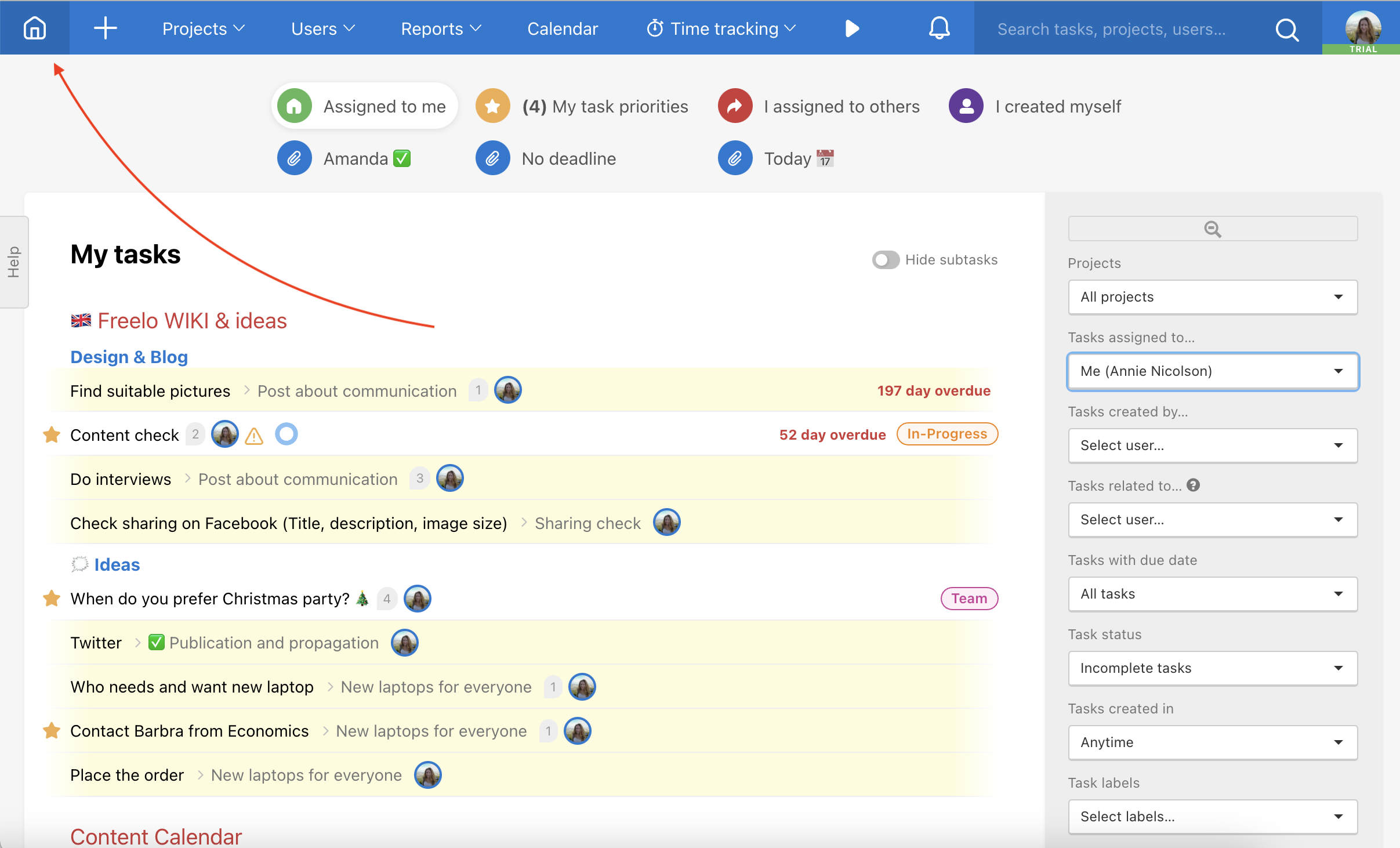 Example of the main Freelo page - Dashboard.