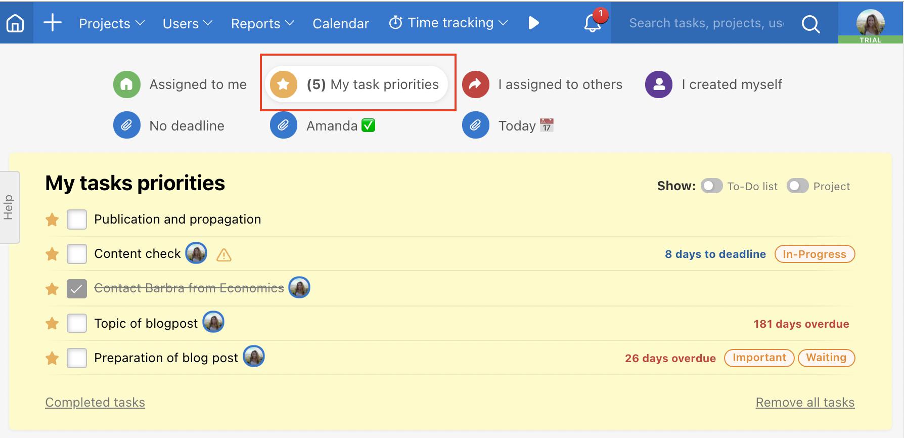 Example of list My task priorities.