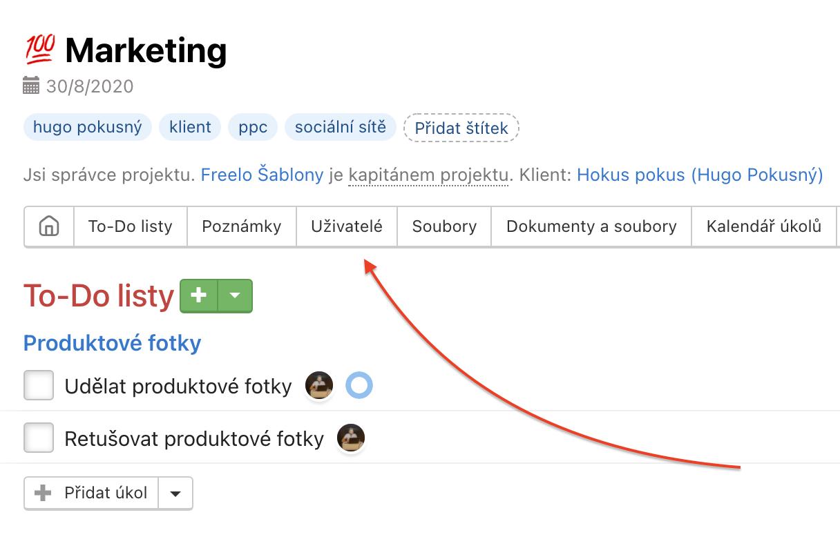 Přejdi na detail projektu a následně do sekce Uživatelé.