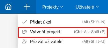 Jak vytvořit projekt přes ikonu + v horní liště.