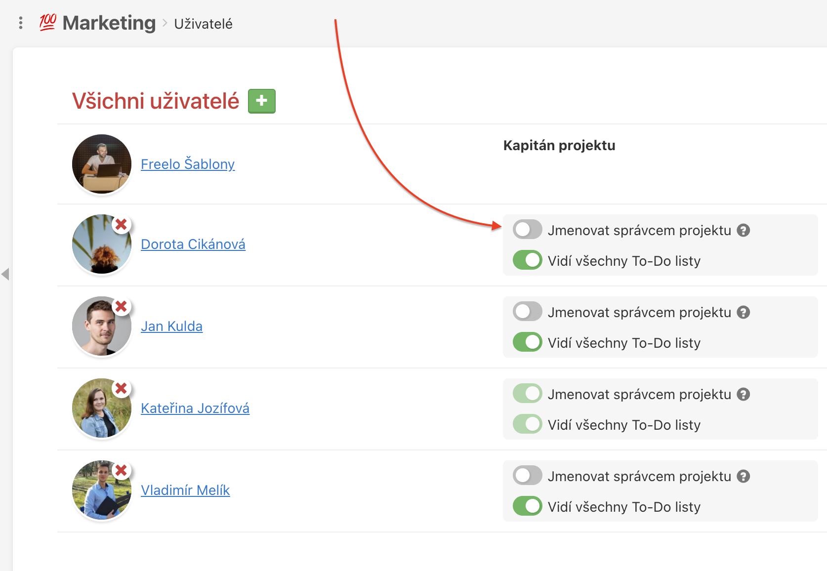 Jak uživateli přiřadit roli Správce projektu.