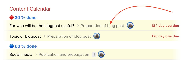 Example of subtask on Dashboard.
