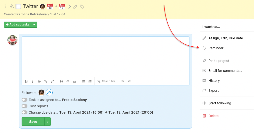 How to set up subtask reminder.