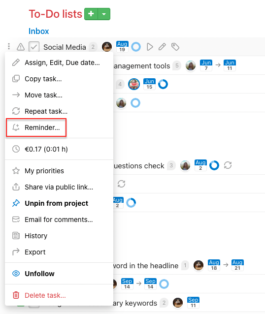 How to set task reminder via three-dot menu.