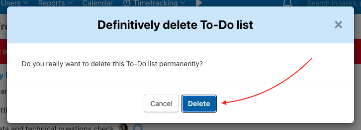 Confirm deleting To-Do list.
