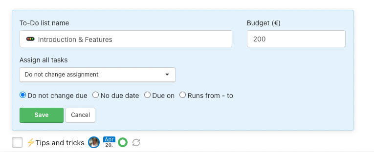 Change all details for particular To-Do list.
