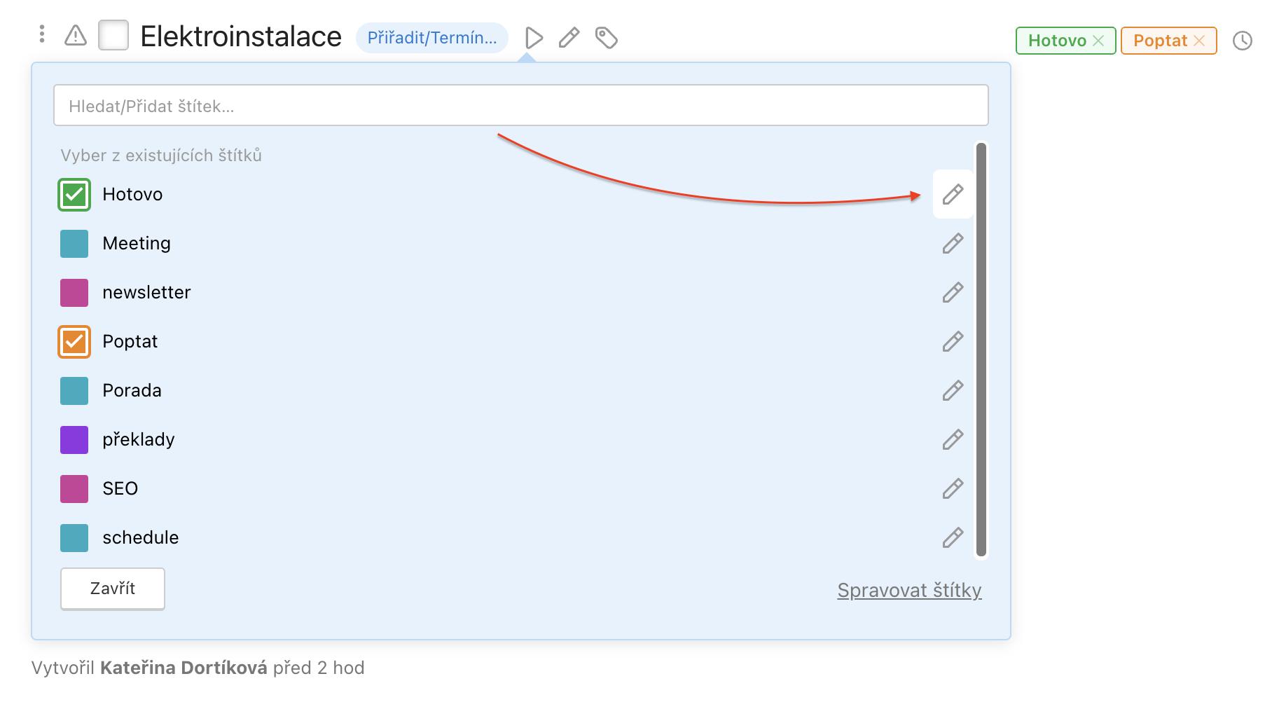 Ukázka jak editovat štítky úkolů.
