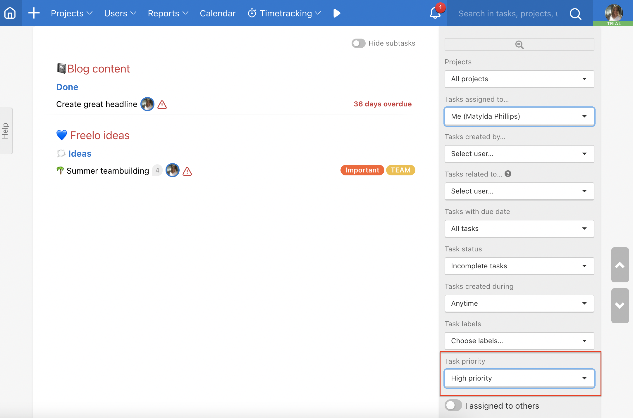 How to filter tasks with priorities on Dashboard.