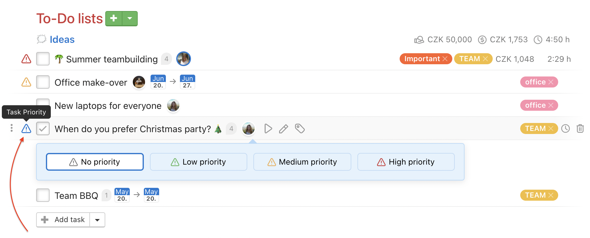 Click the Task Priority icon and set the priority.