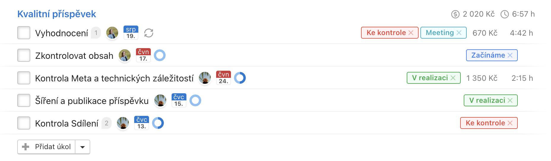 Ukázka nastavených štítků jako statusů u úkolů ve Freelu.