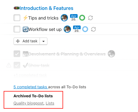 List of archived To-Do lists in a project.