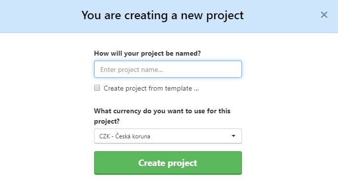Example of how to create a new project.