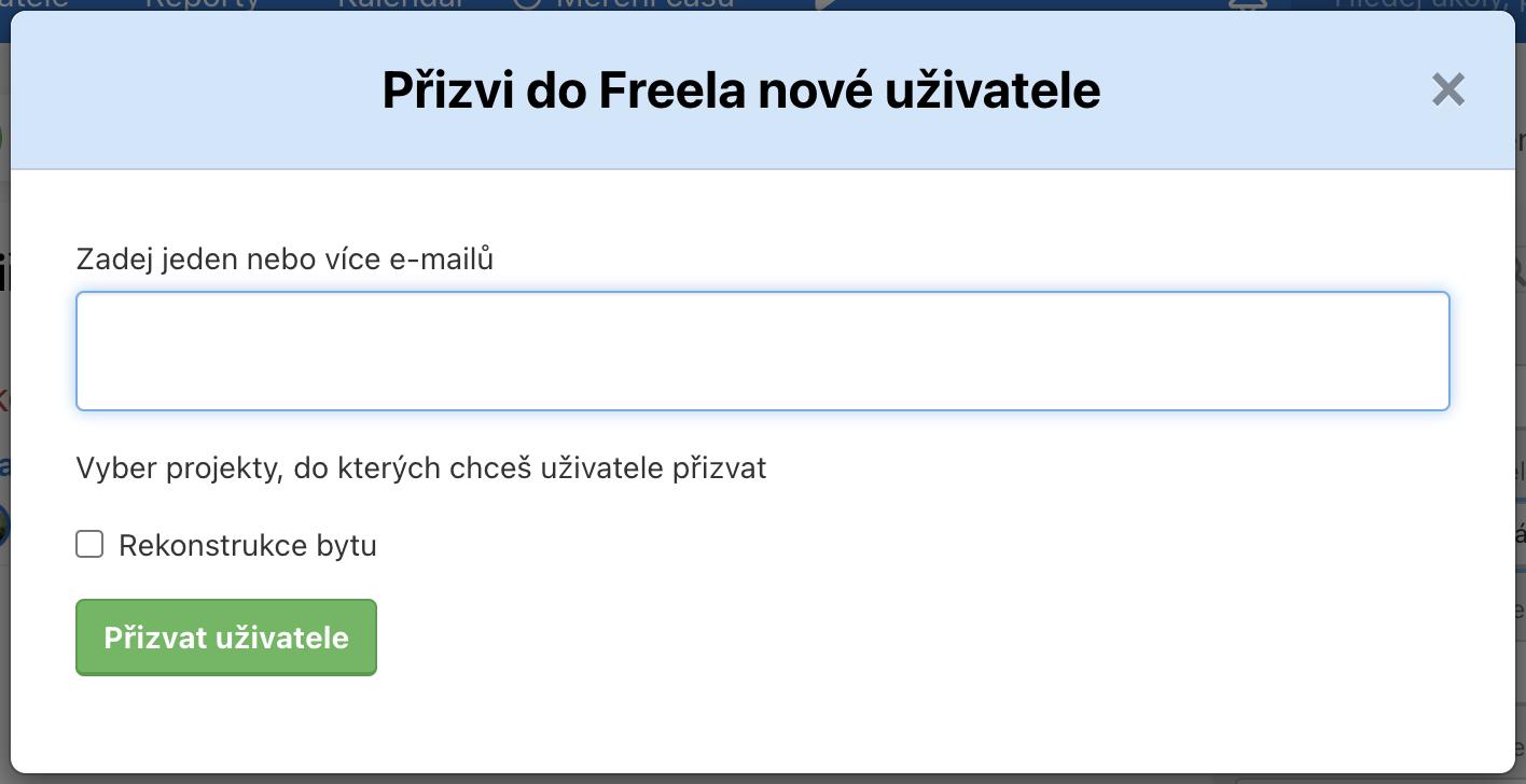 Ukázka, jak přizvat nového uživatele do Freela.