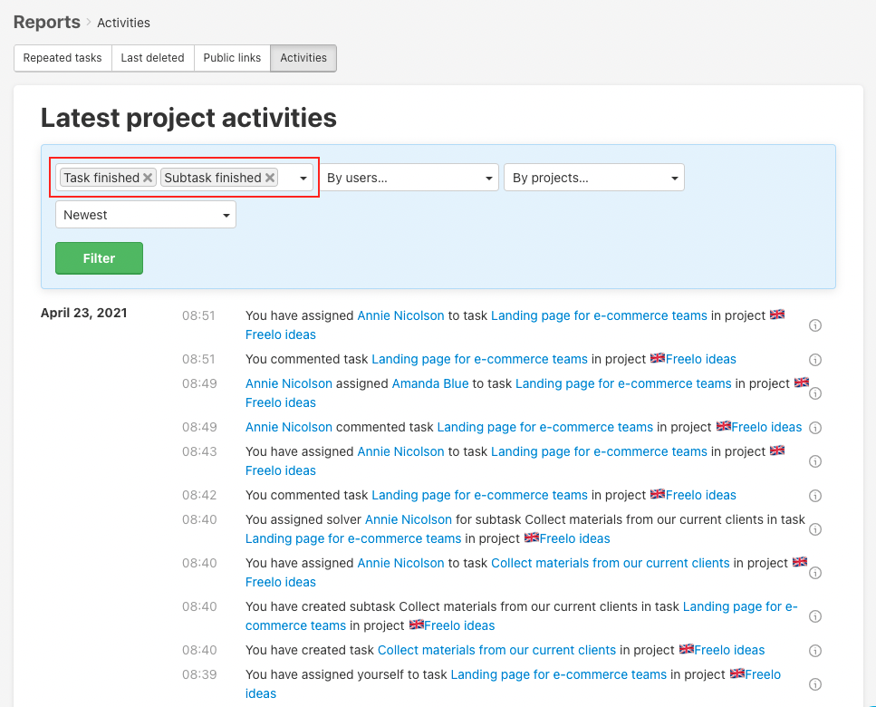 Use filters for example only finished tasks and subtasks.