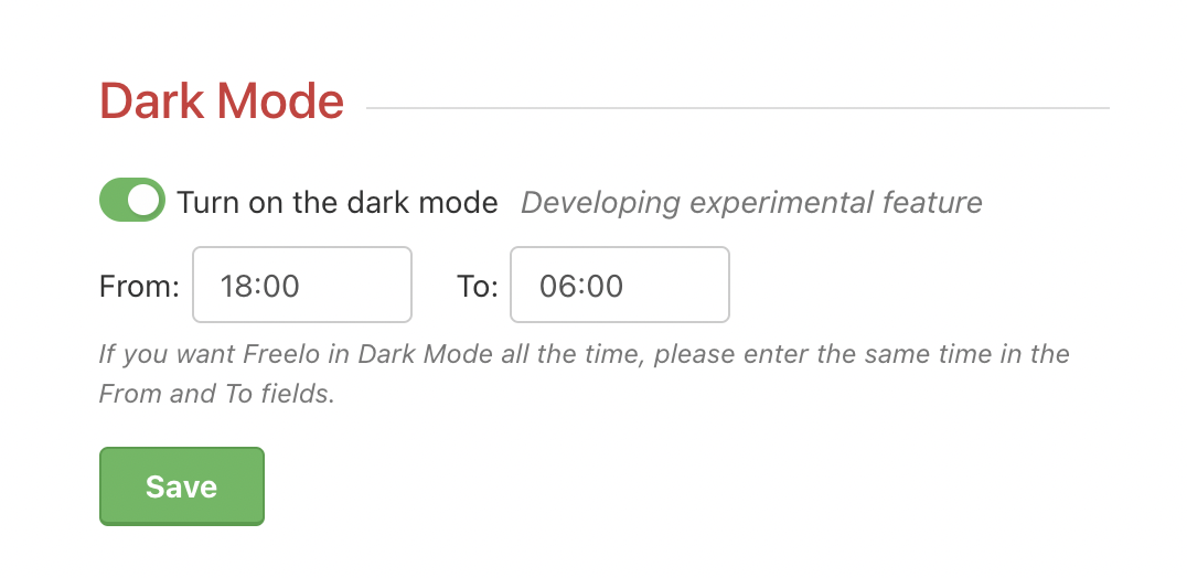 Example of how to switch to dark mode.