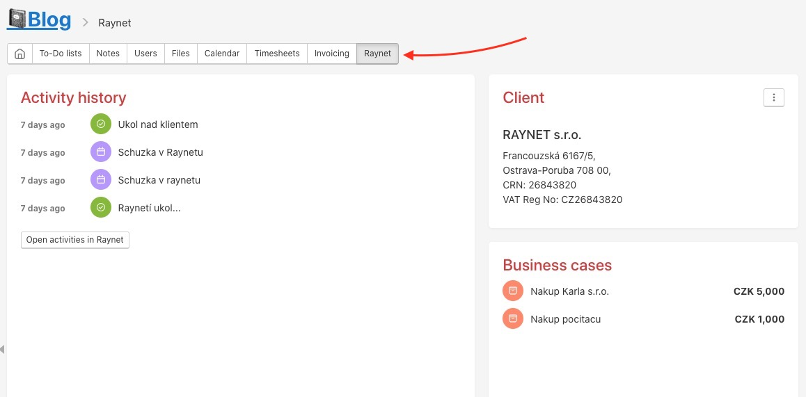 Example of a project connected to Client in Raynet.