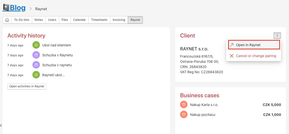 Redirect from Freelo to client in Raynet.