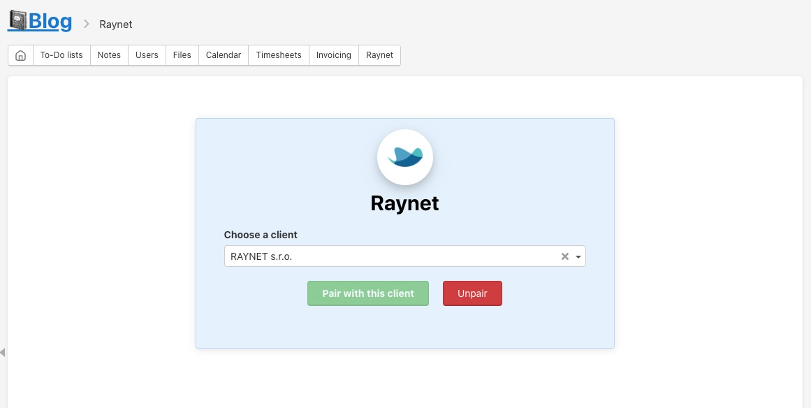 Edit the connected client from Raynet.