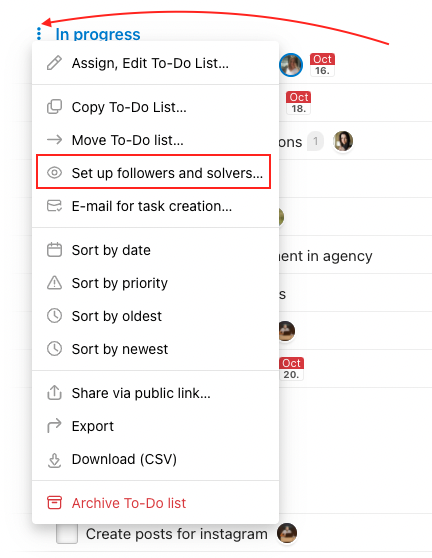 Go to particular To-Do list and setup followers and solver.